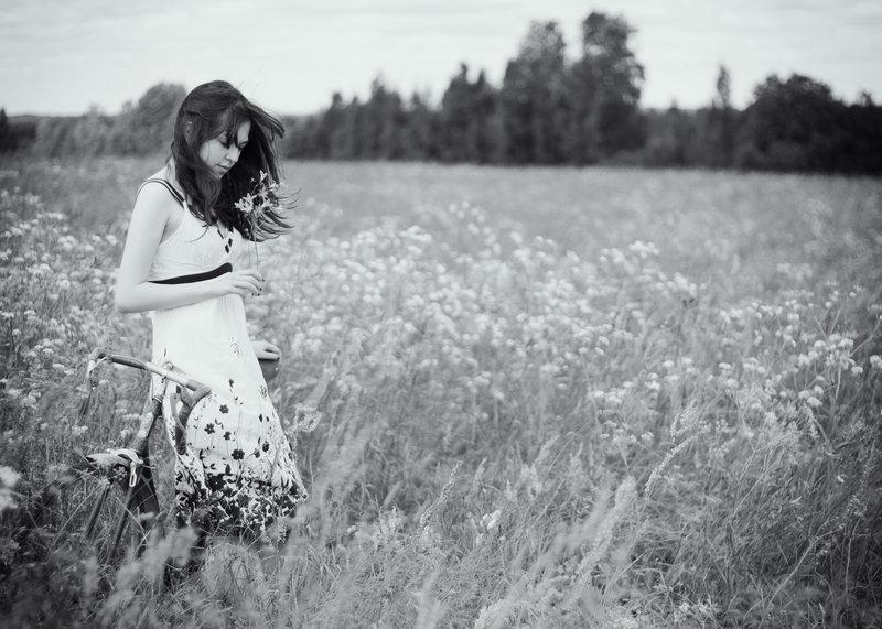 A girl in a field