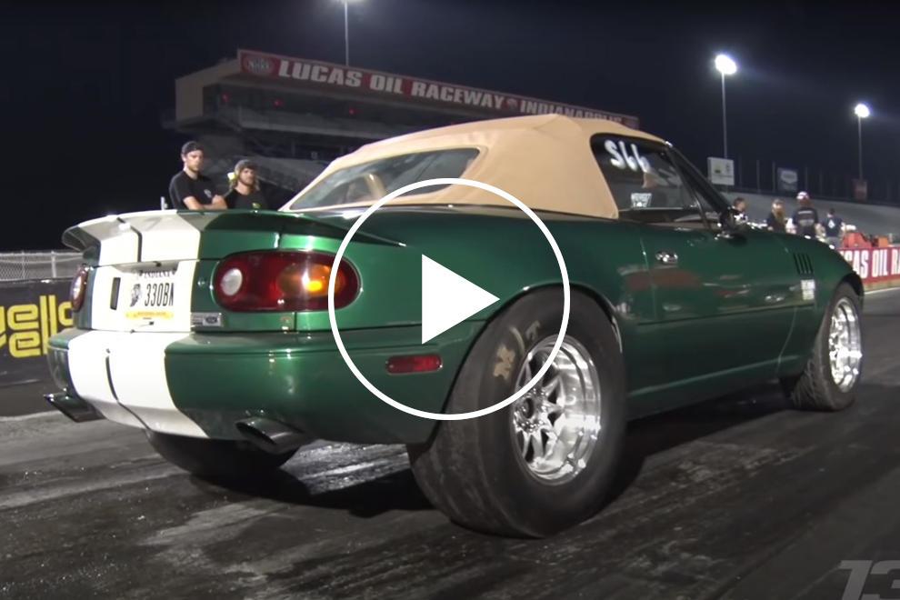 89604 Watch This Mazda Miata Pop A Wheelie On Nine-Second Run