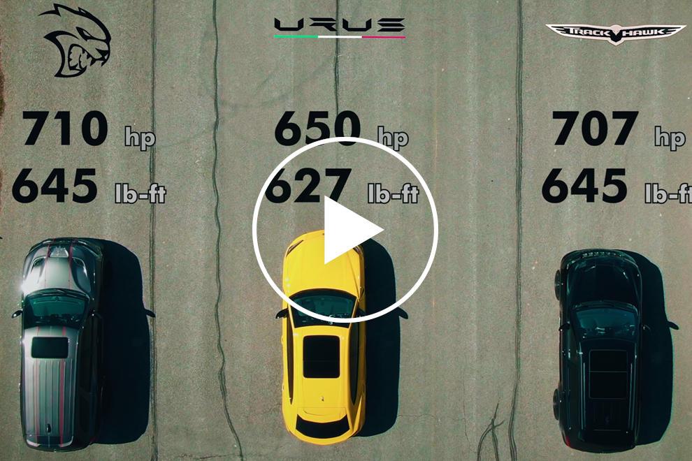 95362 Drag Race: Lamborghini Urus Vs. Dodge Durango Hellcat Vs. Jeep Trackhawk